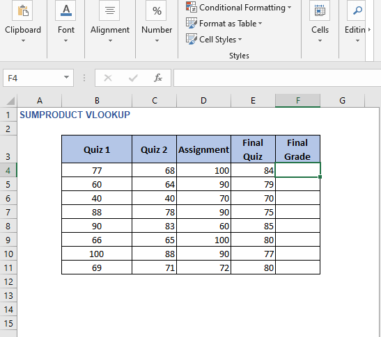 Example 2 dataset - SUMPRODUCT VLOOKUP