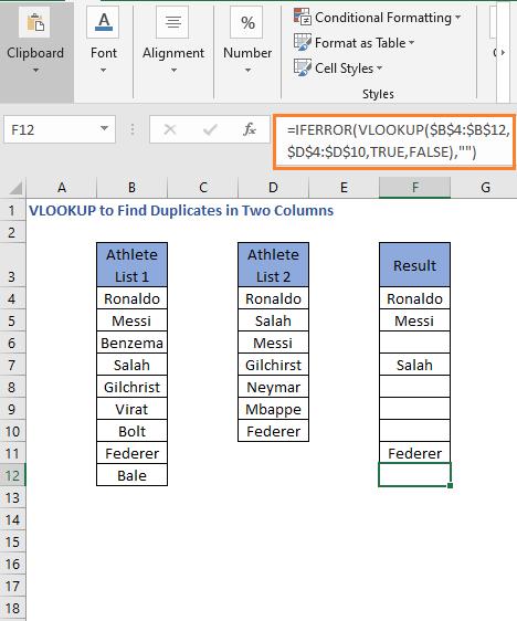 IFERROR VLOOKUP Formula result Drag down - VLOOKUP to Find Duplicates in Two Columns