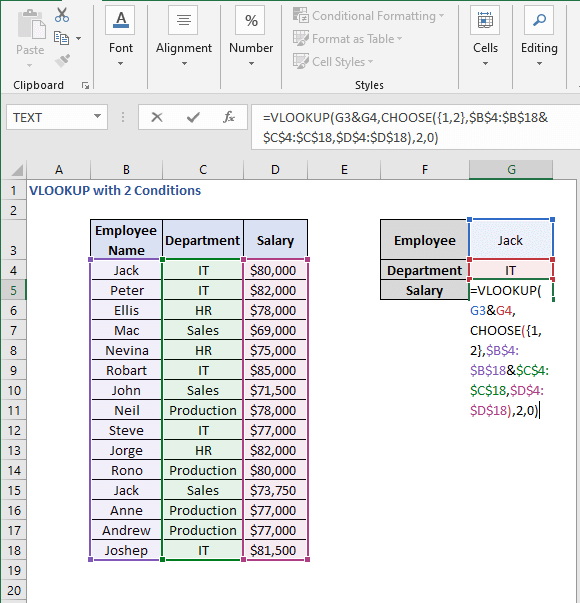 VLOOKUP - CHOOSE formula - VLOOKUP with 2 Conditions