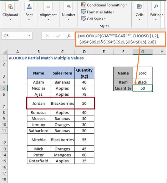 VLOOKUP - CHOOSE result - VLOOKUP Partial Match Multiple Values