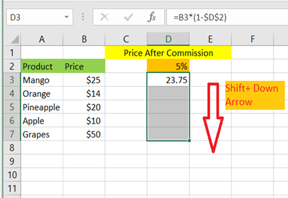 Select the other cells along with the first cell using Shift + Down Arrow
