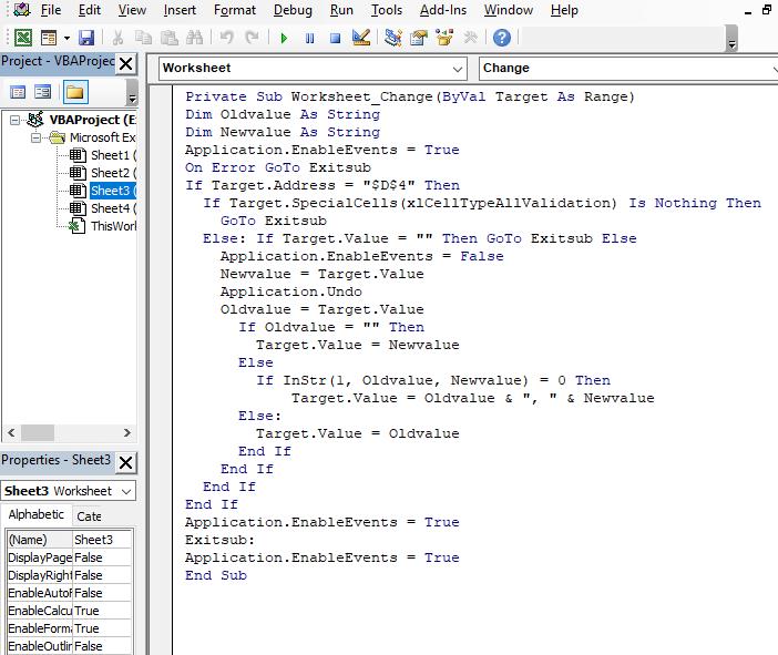 Code - unique only - Excel Drop Down List Multiple Selection
