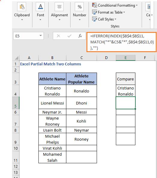 INDEX - MATCH formula result 2- Excel Partial Match Two Columns