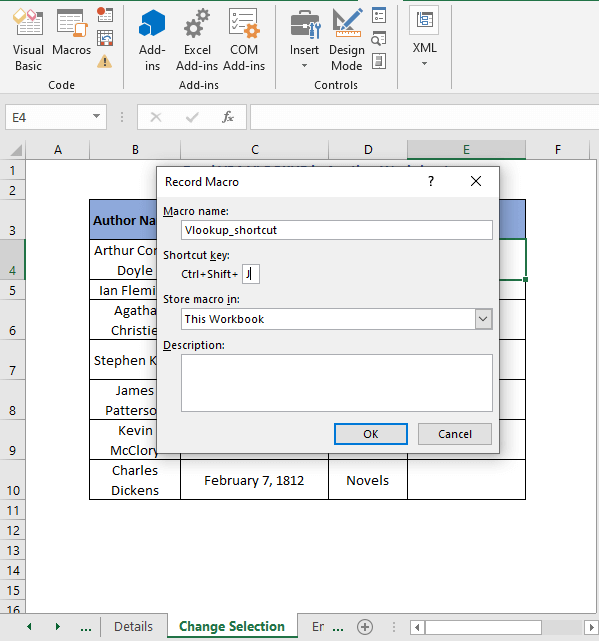 Record Macro dialog box - Excel VBA VLOOKUP in Another Worksheet