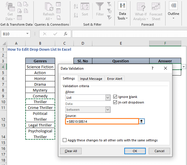Modify Range - How To Edit Drop Down List In Excel