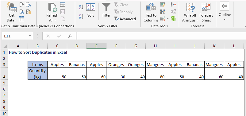 Row data - How to Sort Duplicates in Excel