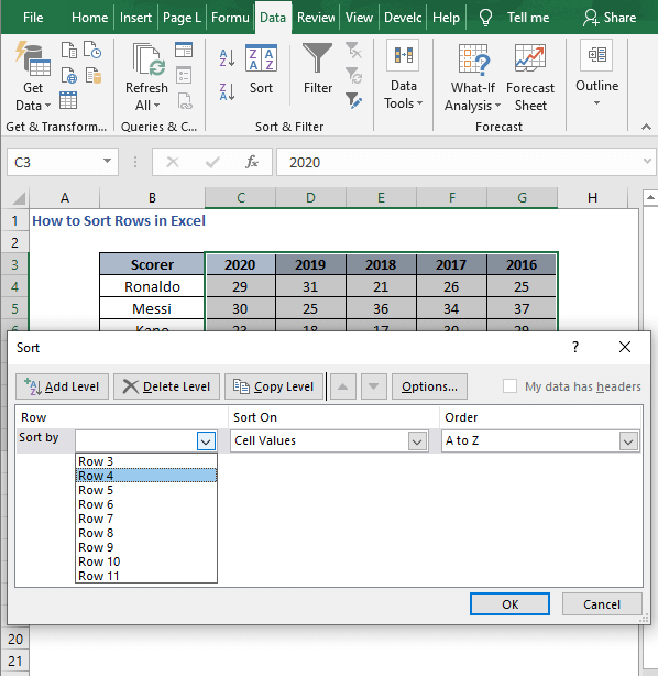 Select Row 4 - 2 - How to Sort Rows in Excel