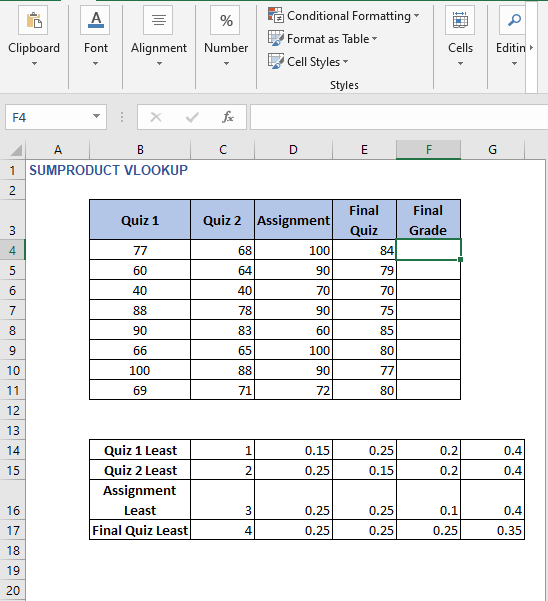 Weight table - SUMPRODUCT VLOOKUP