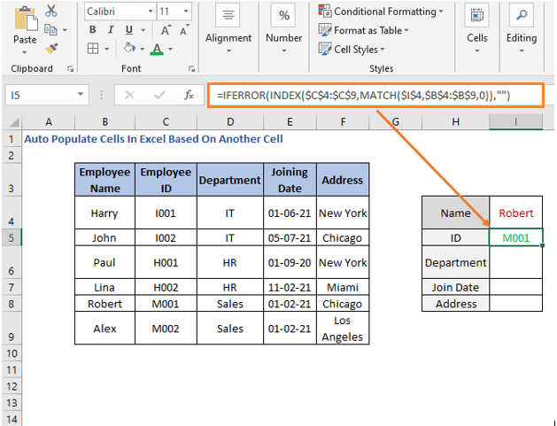 INDEX-MATCH formula - ID - Auto Populate Cells In Excel Based On Another Cell