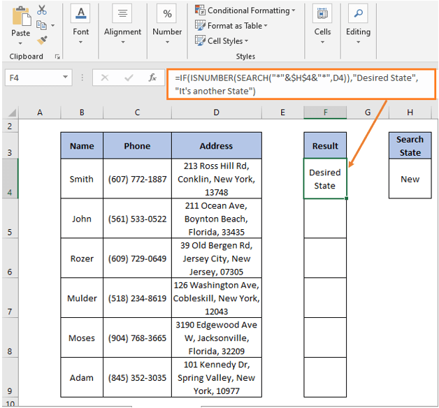 ISNUMBER - SEARCH formula result - IF Partial Match Excel