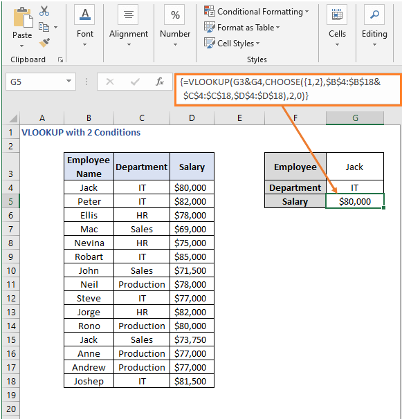 VLOOKUP-CHOOSE formula result - VLOOKUP with 2 Conditions