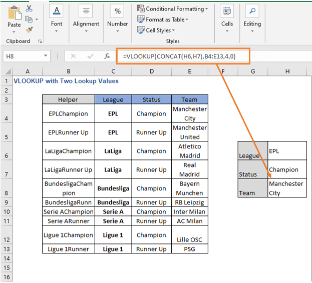 VLOOKUP - CONCAT formula result - VLOOKUP with Two Lookup Values