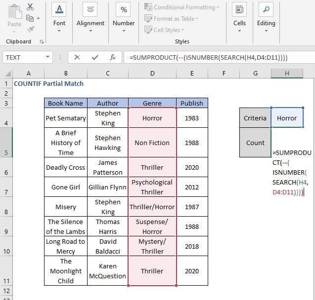 SUMPRODUCT formula - COUNTIF Partial Match