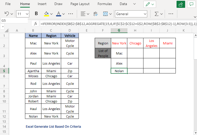 INDEX-AGGREGATE - Excel Generate List Based On Criteria