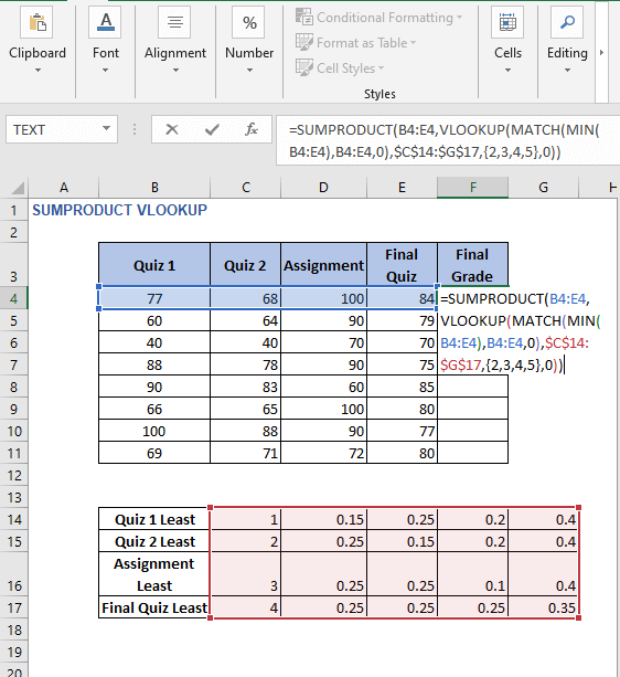 Formula for example 2 - SUMPRODUCT VLOOKUP