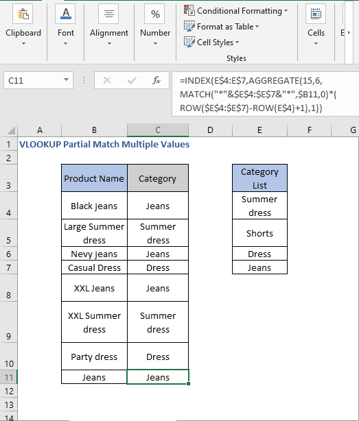INDEX - AGGREGATE - VLOOKUP Partial Match Multiple Values