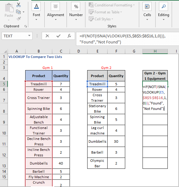IF statement - VLOOKUP To Compare Two Lists
