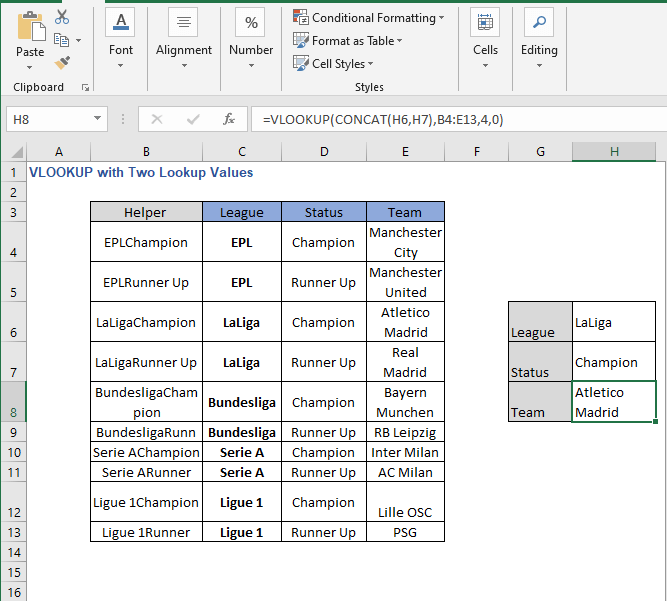 Change of lookup values - VLOOKUP with Two Lookup Values