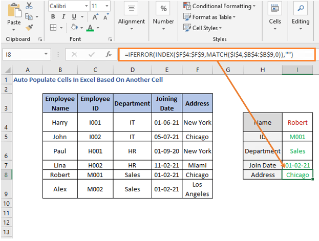 INDEX-MATCH formula - Address - Auto Populate Cells In Excel Based On Another Cell
