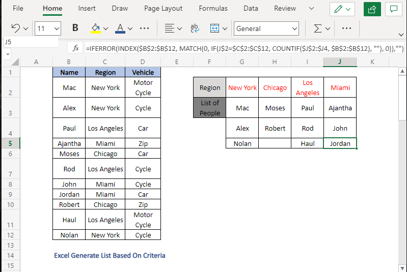 Complete list (INDEX-MATCH) - Excel Generate List Based On Criteria