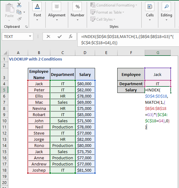 INDEX - MATCH formula - VLOOKUP with 2 Conditions