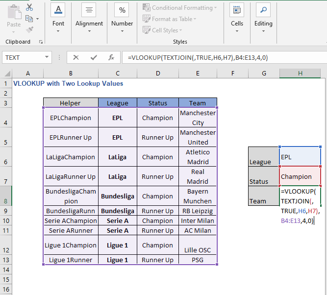 VLOOKUP- TEXTJOIN - VLOOKUP with Two Lookup Values