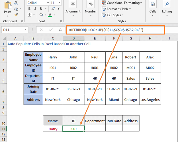 HLOOKUP Formula - ID - Auto Populate Cells In Excel Based On Another Cell