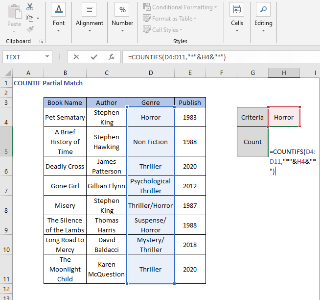 COUNTIFS - COUNTIF Partial Match