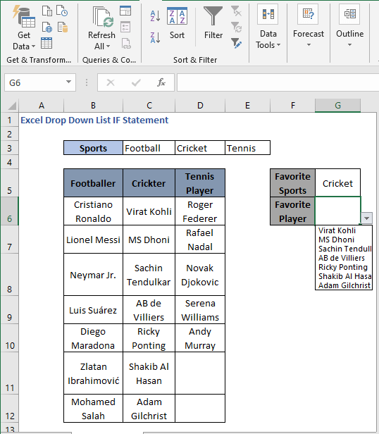 Category cricket - cricket players - Excel Drop Down List IF Statement