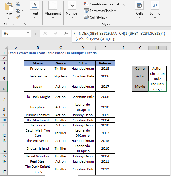 INDEX-MATCH Array formula result 2 - Excel Extract Data From Table Based On Multiple Criteria