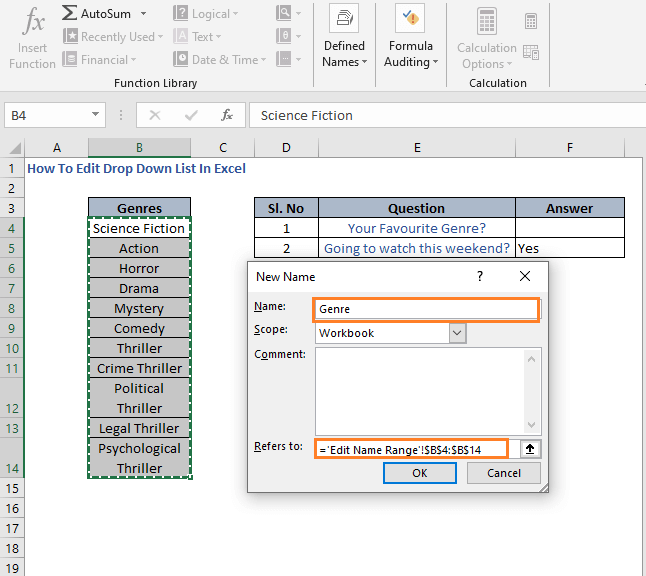 Name a range - How To Edit Drop Down List In Excel
