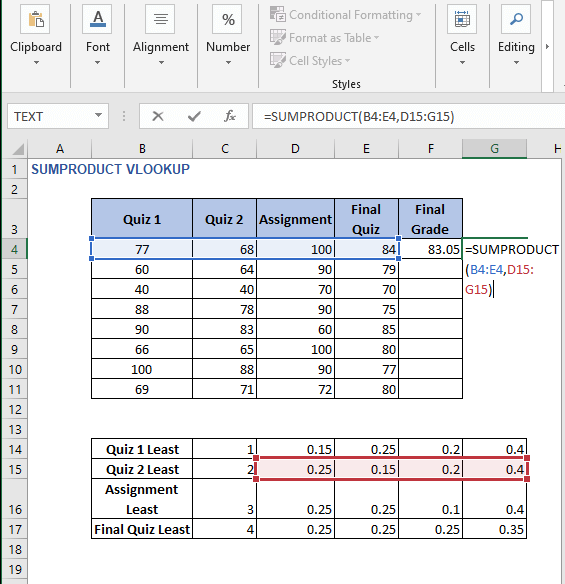 Direct use of SUMPRODUCT - SUMPRODUCT VLOOKUP
