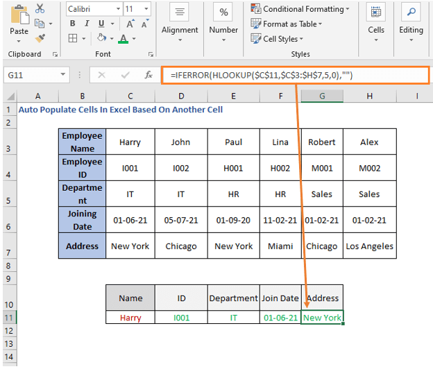 HLOOKUP Formula - Address - Auto Populate Cells In Excel Based On Another Cell