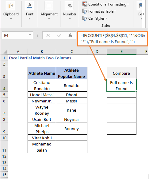 IF-COUNTIF formula result - Excel Partial Match Two Columns