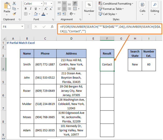 OR operation result - IF Partial Match Excel