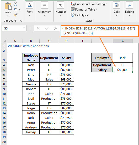 INDEX - MATCH formula result - VLOOKUP with 2 Conditions