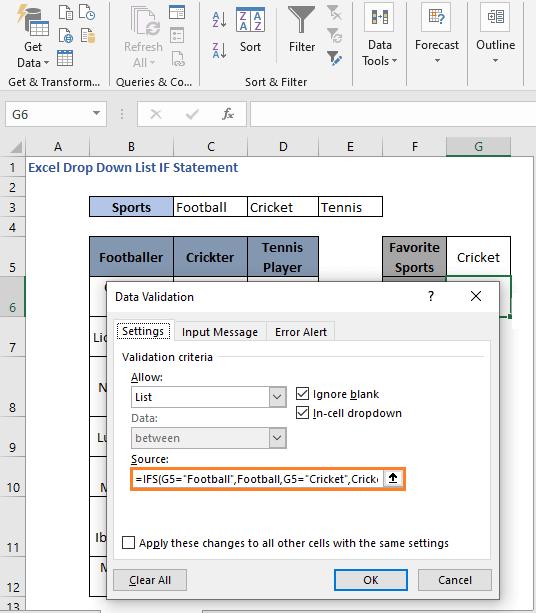 IFS Formula - Excel Drop Down List IF Statement