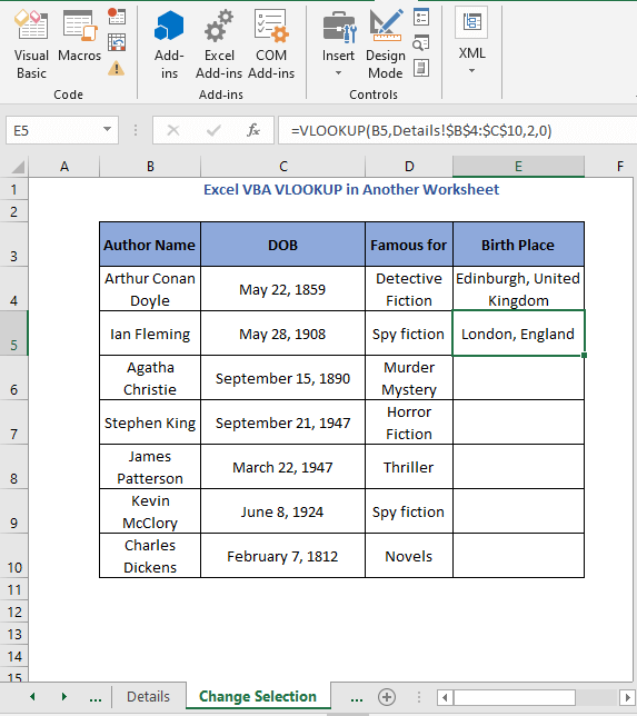 Result of selection cell code 2 - Excel VBA VLOOKUP in Another Worksheet