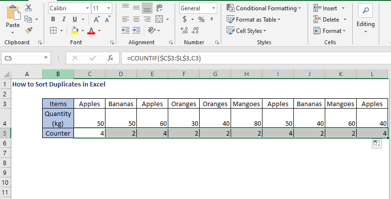 COUNTIF AutoFill - How to Sort Duplicates in Excel