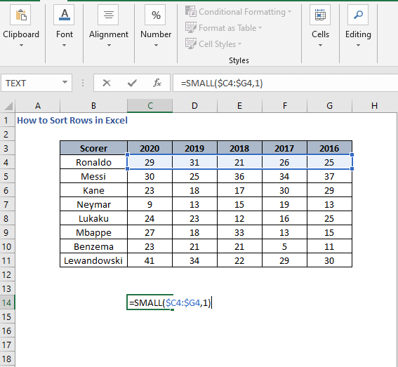 SMALL - How to Sort Rows in Excel