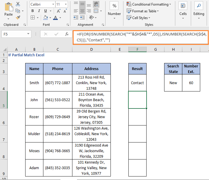 OR operation result false - IF Partial Match Excel