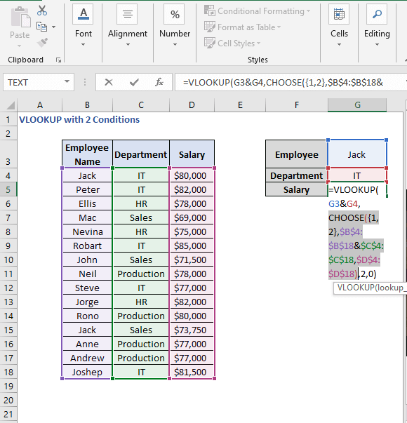 CHOOSE insights - VLOOKUP with 2 Conditions