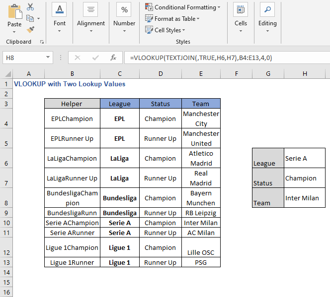 Change of Lookup values 3- VLOOKUP with Two Lookup Values