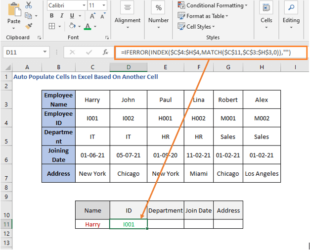 INDEX-MATCH formula row - ID - Auto Populate Cells In Excel Based On Another Cell