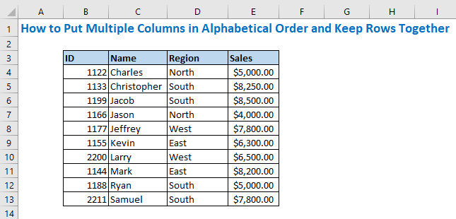 How to Put Multiple Columns in Alphabetical Order and Keep Rows Together