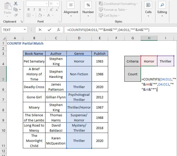 COUNTIFS in two criteria formula - COUNTIF Partial Match
