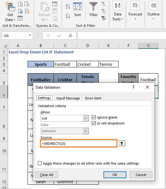 INDIRECT formula - Excel Drop Down List IF Statement
