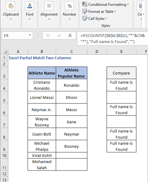 IF-COUNTIF formula AutoFill- Excel Partial Match Two Columns