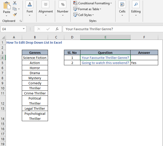 Change in questions - How To Edit Drop Down List In Excel