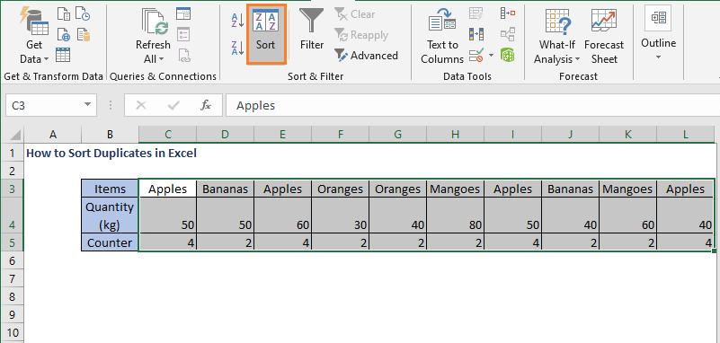 Select Sort - How to Sort Duplicates in Excel